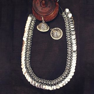 Long Silver Plain Coin Necklace Set