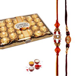 Ferrero Rocher with 2 Rakhi of choice