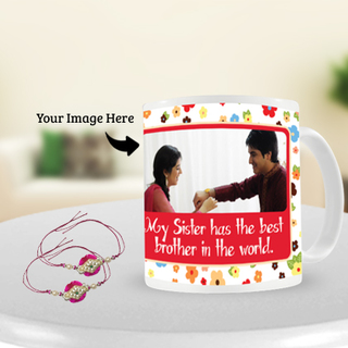 Pink Stone Rakhi with Rakhi Photo Mug