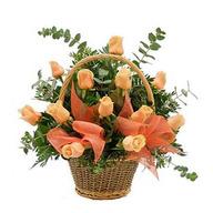 Peach Roses Basket