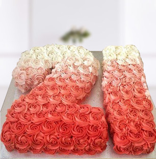 Number Pink Roses Ombre Cake