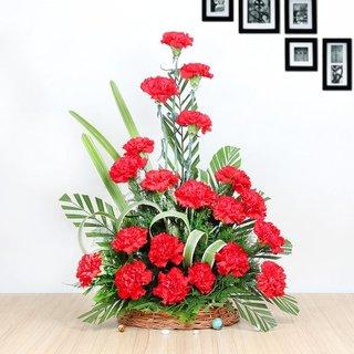 Red Carnation Basket Arrangement