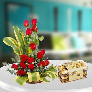 Red Roses Arrangement with Ferrero Rocher