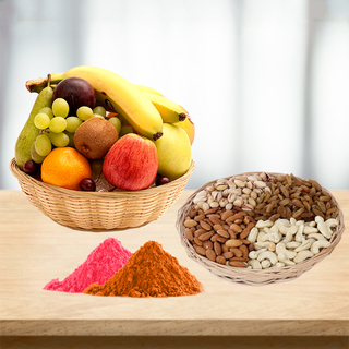 Fresh Fruits Basket and Mixed Dry Fruits with Free Gulal