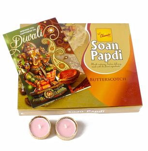 Butterscotch Soan Papdi with Diya and Card