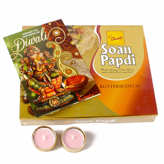 Butterscotch Soan Papdi with Diya and Card