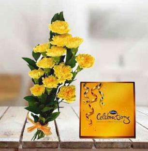 Yellow Carnation with Chocolate