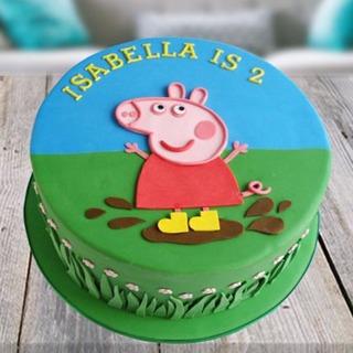 Peppa Pig Birthday Cake.Peppa Pig Fondant Cake
