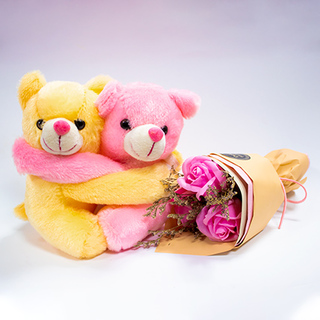 Hugging Teddy with Pink Roses