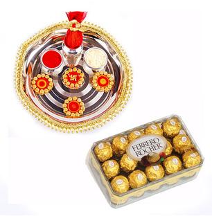Diwali Pooja Thali With Chocolates