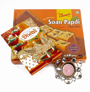 Soan Papdi with Diwali Card and Diya Hamper