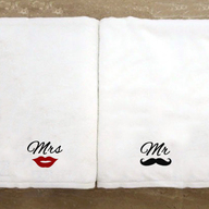 Personalised Monogrammed Mr & Mrs Towel Set