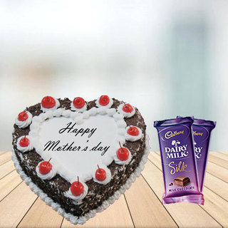 Mother Day Heart Shape Black Forest Cake with Cadbury Silk Combo