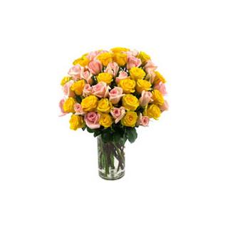 Yellow & Pink Roses Vase