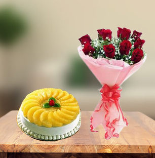 Premium Pineapple Cake & Red Roses