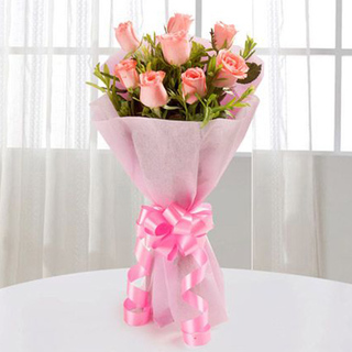 Valentine 12 Pink Roses Bouquet