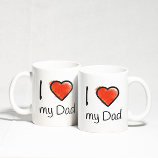 I Love You Dad Heart Handle Mug