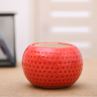 Dot Embossed Round Ceramic Pot (Red)