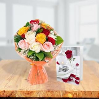 Mixed Roses With Greeting Card