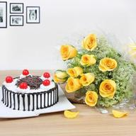 Black Forest Cake & Rose Bouquet