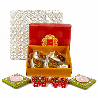 Assorted Sweets with Designer Pagla and 2 fdiwali hamDiyas