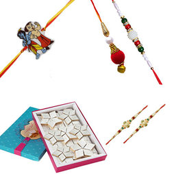 Kaju Burfi with Family Rakhi Set