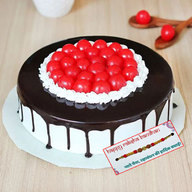 Black Forest Cake With Lots of Cherry with Rakhi