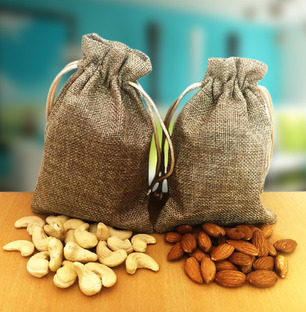 Almonds and Cashews in Jute Bags