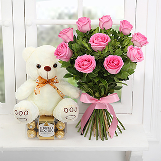 Pink Roses, chocolate & Teddy Combo