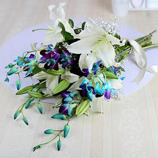 Sweet Elegance with Lilies and Orchids
