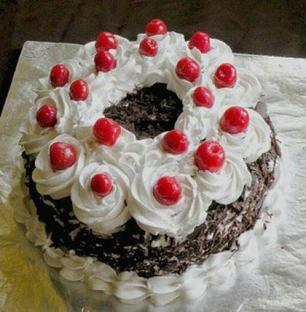 Black forest cake with extra cherries