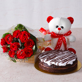Bunch of Roses with cake and teddy combo