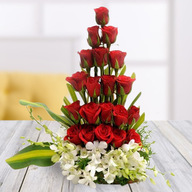 Red Roses and Orchids Arrangement