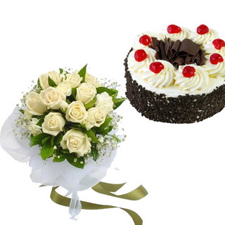 Black Forest Cake & White Roses