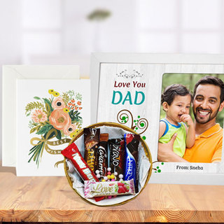 Fathers Day Photo Frame, Imported Chocolates & Card