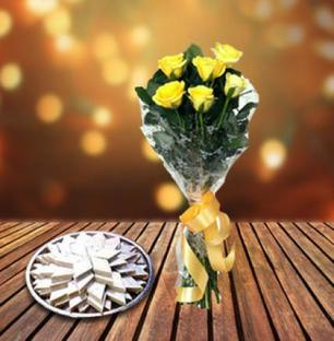 Kaju Burfi with Roses