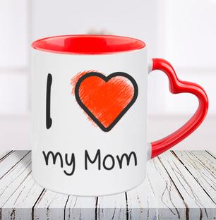 I Love You Mom Heart Handle Mug