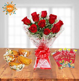 Roses with Gujiya & Holi Colors