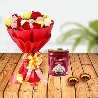 Diwali Mix Roses, Rasgulla & Diya Combo