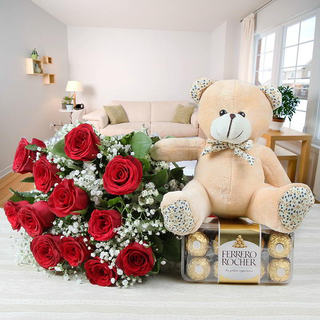 Red Roses, chocolate & Teddy Combo