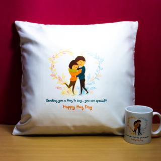 Hug Day Cushion and Mug
