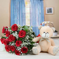 Valentine Red Roses and Teddy Bear Combo