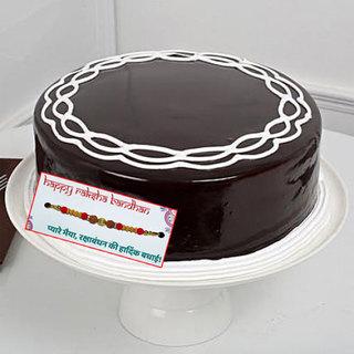 Chocolate Cream Cake with Rakhi