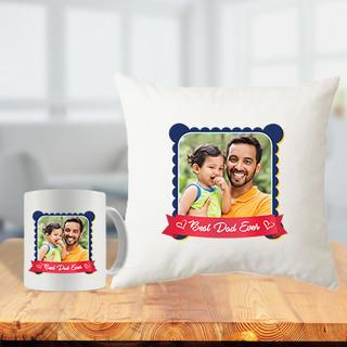 Best Dad Ever Cushion Mug Combo