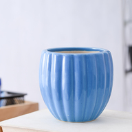 Vertical Ridges Pattern Round Ceramic Pot (Blue)