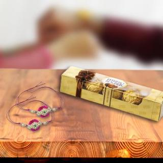 Stone Pink Rakhi with Ferrero Rocher