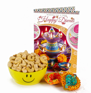 Cashew Smiley Bowl with Diwali Card and Diyas