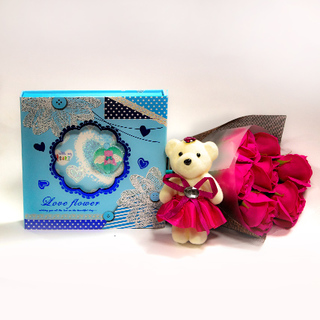 Red Roses bouquet with Teddy and Diary