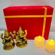 Laxmi Ganesha Idol with LED Diyas