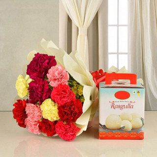Lovely Carnation with Rasgulla